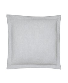 Home Washed Linen Light Gray Euro Sham with Flange