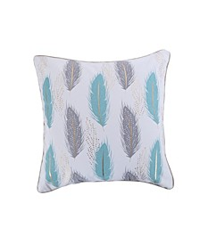 Home Spa Pintuck Teal Gray Feathers Pillow