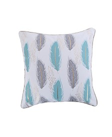 Levtex Home Spa Pintuck Teal Gray Feathers Pillow