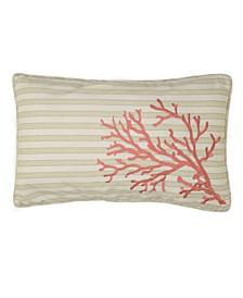 Home Pescador Embroidered Coral Stripe Pillow