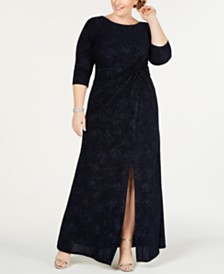 Alex Evenings Plus Size Knot-Front Gown