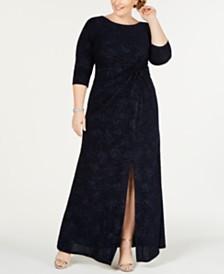 Alex Evenings Plus Size Knot-Front Gown