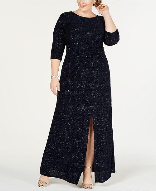 9d09b3dcc3 Alex Evenings Plus Size Knot-Front Gown   Reviews - Dresses - Plus ...