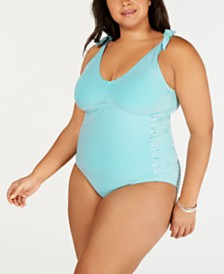Lauren Ralph Lauren Plus Size Seersucker Underwire Tummy-Control One-Piece Swimsuit