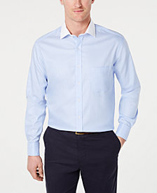 Tasso Elba Men's Classic/Regular-Fit Non-Iron Supima Cotton Small Herringbone French Cuff Dress Shirt, Created for Macy's