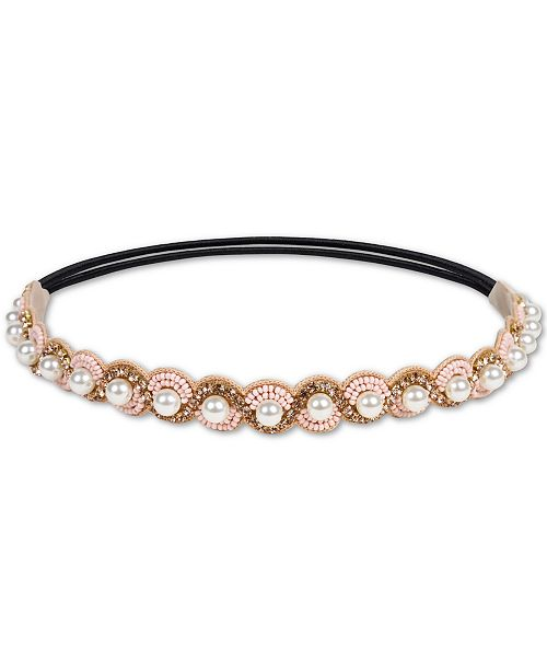 Deepa Gold-Tone Crystal, Bead & Imitation Pearl Stretch Headband