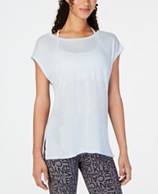Calvin Klein Performance Cap-Sleeve Crisscross Back T-Shirt