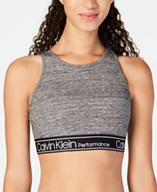 Calvin Klein Performance Logo Strappy-Back Medium-Impact Sports Bra