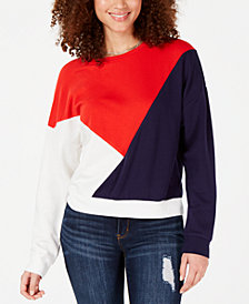 Hippie Rose Juniors' Colorblock Quarter-Zip Sweatshirt