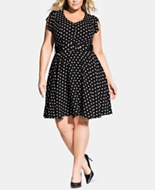 City Chic Trendy Plus Size Polka-Dot Eliza Dress