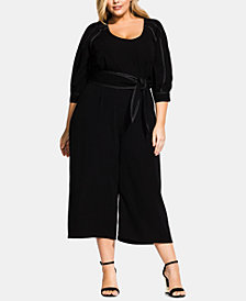 City Chic Trendy Plus Size Stitched Up Belted Jumpsuit