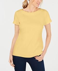 Karen Scott Scallop-Neck Cotton Top, Created for Macy's