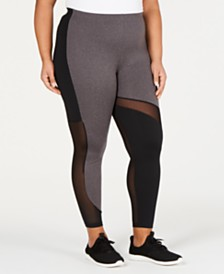 Soffe Plus Size Mesh-Inset Leggings