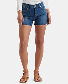 Roll Up Embroidered Denim Shorts