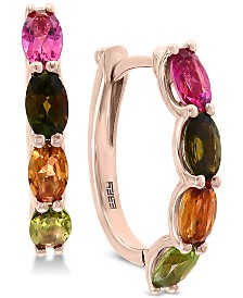 EFFY® Multi Tourmaline (2-3/4 ct. t.w.) Hoop Earrings in 14k Rose Gold