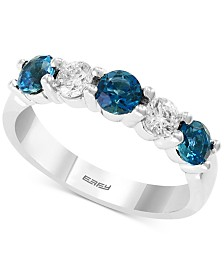EFFY® London Blue Topaz (1 ct. t.w.) & White Sapphire (5/8 ct. t.w.) Ring in 14k White Gold