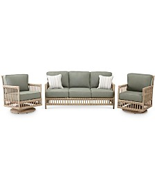 Lavena Outdoor 3-Pc. Seating Set (1 Sofa & 2 Swivel Chairs) with Sunbrella® Cushions, Created for Macy's