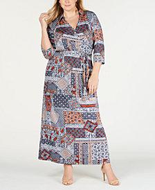 NY Collection Plus Size Empire-Waist Maxi Dress