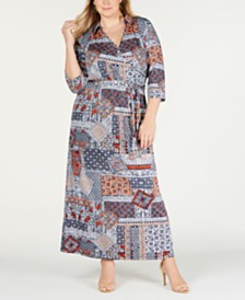 NY Collection Plus Size Empire-Waist Maxi Dress