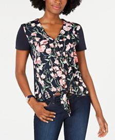 Tommy Hilfiger Floral-Print Tie-Hem Top