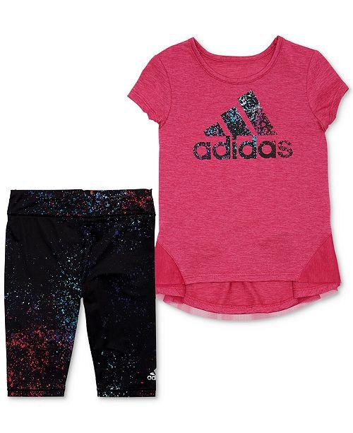60763c7a adidas Baby Girls 2-Pc. Logo Top & Capri Leggings Set & Reviews ...