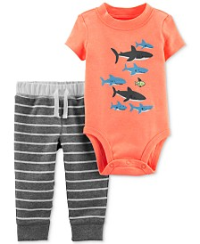 Carter's Baby Boys 2-Pc. Shark Bodysuit & Striped Pants Set
