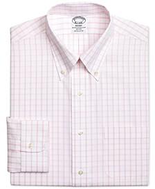 Men's Regent Classic/Regular Fit Non-Iron Pink Windowpane Dress Shirt