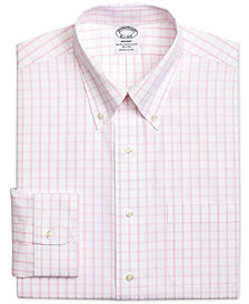 Brooks Brothers Men's Regent Classic/Regular Fit Non-Iron Pink Windowpane Dress Shirt