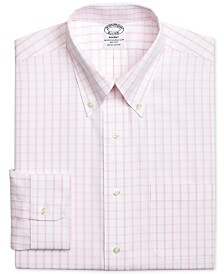 Brooks Brothers Men's Regent Classic/Regular Fit Non-Iron Pink Windowpane Dress Shirt