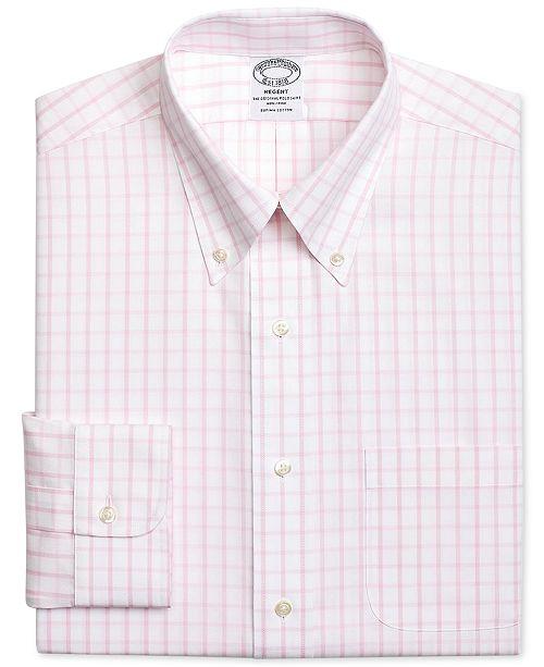 9c4e2731c24 ... Brooks Brothers Men s Regent Classic Regular Fit Non-Iron Pink  Windowpane Dress ...