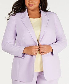 Bar III Plus Size One-Button Jacket, Created for Macy's