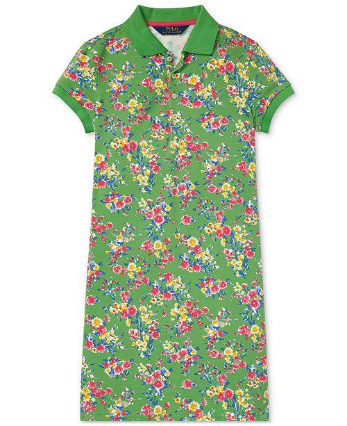 Lauren Girls Print Big Floral Stretch Dress Ralph Polo 54ALj3R