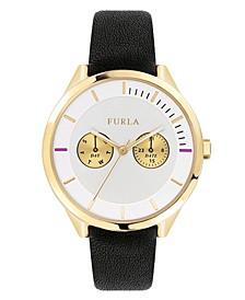Women's Metropolis Silver Dial Calfskin Leather Watch