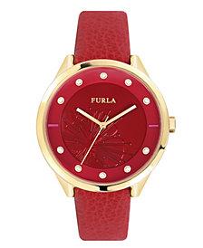 Furla Women's Metropolis Red Dial Calfskin Leather Watch