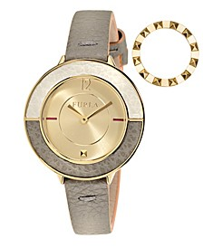Women's Club Gold Dial Calfskin Leather Watch