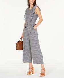 MICHAEL Michael Kors Petite Printed Belted Jumpsuit