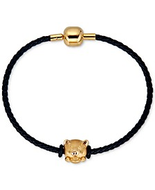 Pig Charm Leather Bracelet in 22k Gold