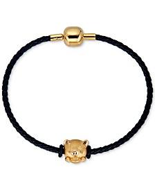 Pig Charm Leather Bracelet in 22k Gold