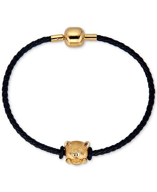 Macy's Pig Charm Leather Bracelet in 22k Gold