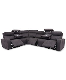 Oaklyn 6-Pc. Fabric Sectional Sofa with 3 Power Recliners, Power Headrests, USB Power Outlet & 2 Drop Down Tables