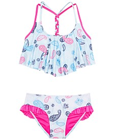 DKNY Big Girls 2-Pc. Paisley-Print Sunsuit Bikini