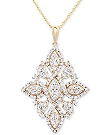 "Diamond (1 ct. t.w.) Geometric Pendant Necklace in 14k Gold, 16"" + 4"" extender, Created for Macy's"