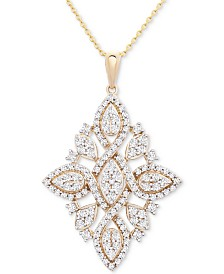 "Wrapped in Love Diamond (1 ct. t.w.) Geometric Pendant Necklace in 14k Gold, 16"" + 4"" extender, Created for Macy's"