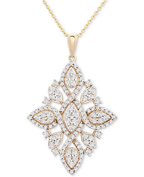 """Macy's Wrapped in Love Diamond (1 ct. t.w.) Geometric Pendant Necklace in 14k Gold, 16"""" + 4"""" extender, Created for Macy's"""