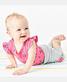 Carter's Baby Girls 2-Pc. Flamingo-Print Cotton Bodysuit & Pants Set