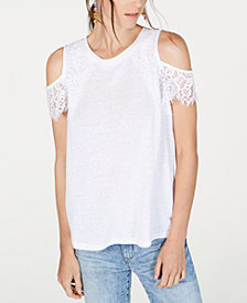 I.N.C. Lace Cold-Shoulder Top, Created for Macy's