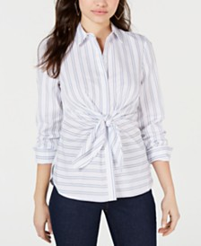 GUESS Keelin Striped Tie-Front Blouse