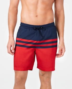 "Men's Quick-Dry Performance Colorblocked Stripe 7"" Swim Trunks"