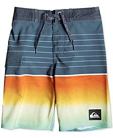 "Quiksilver Little Boys Highline Slab Stretch Colorblocked Stripe 14"" Board Shorts"
