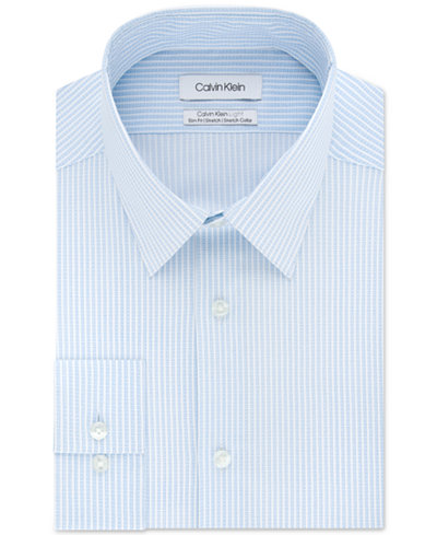 Calvin Klein Men's Light Slim-Fit Performance Stretch Stripe Dress Shirt